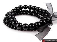 Armband van gewaxte parels bestaande uit 3 rijen - zwart