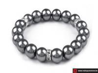 Armband van gewaxte parels bestaande uit 1 rij - grijs
