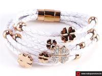 Wit leren armband met gouden bloemetje - wit