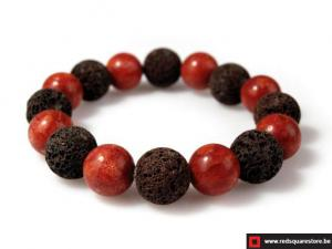 Armband van lava en koraal - rood.