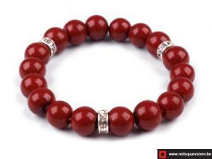 Armband van gewaxte parels bestaande uit 1 rij - rood