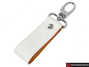 Leren sleutelhanger Toscanella clip haak - wit