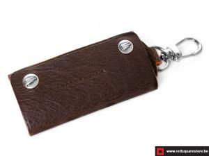 Leren sleutelhanger Toscanella fold-up klip haak - donker bruin