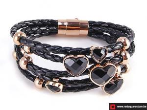 Zwart leren armband met gouden bedels en zircon stenen - zwart