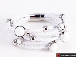 Wit leren armband met zilveren zircon stenen - wit