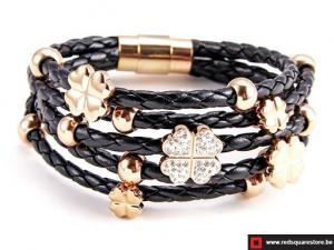 Zwart leren armband met gouden bloemetje - zwart