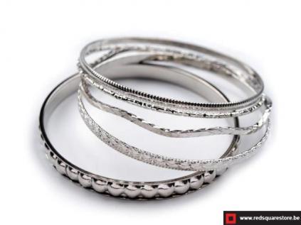 100534gr bangle armband bestaande uit 5 afzonderlijke armbanden grijs