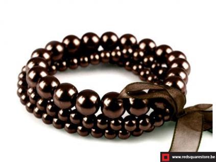 130391br armband van gewaxte parels bestaande uit 3 rijen bruin 01