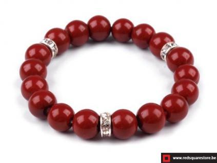 230161rd armband van gewaxte parels bestaande uit 1 rij rood 01