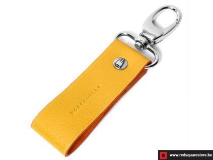 ccod532vaor leren sleutelhanger toscanella clip haak geel 01