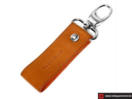 ccod532vaor leren sleutelhanger toscanella clip haak oranje 01