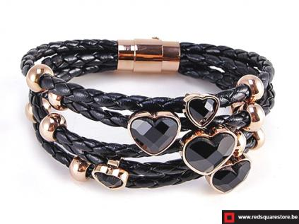 nbn335 zwart leren armband met gouden zircon stenen zwart 01