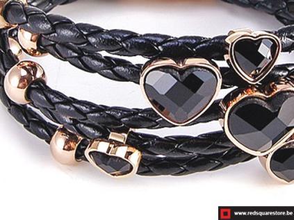 nbn335 zwart leren armband met gouden zircon stenen zwart 02