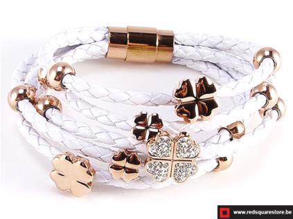nbnnsb336 wit leren armband met gouden bloemetje wit 01