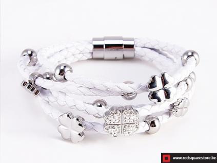 nbnnsb337 wit leren armband met zilveren met bloemetje wit 01