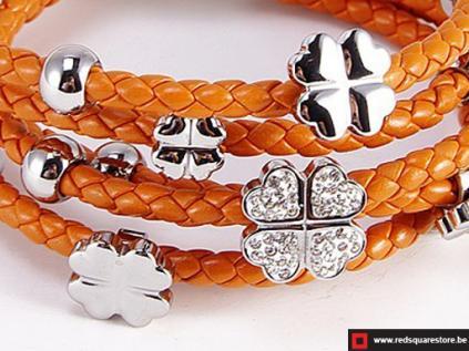 nbnnsb340 oranje leren armband met zilveren met bloemetje 02