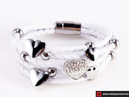 nbnsb333wt wit leren armband met zilveren met hartjes wit 01