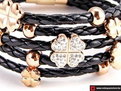 nbnsb338 zwart leren armband met gouden bloemetje zwart 02