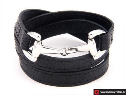 nbnsts833 zwart leren armband met zilveren haak sluiting 01