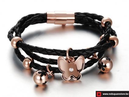 nsbgs351zw zwart leren armband met gouden vlinders zwart 01